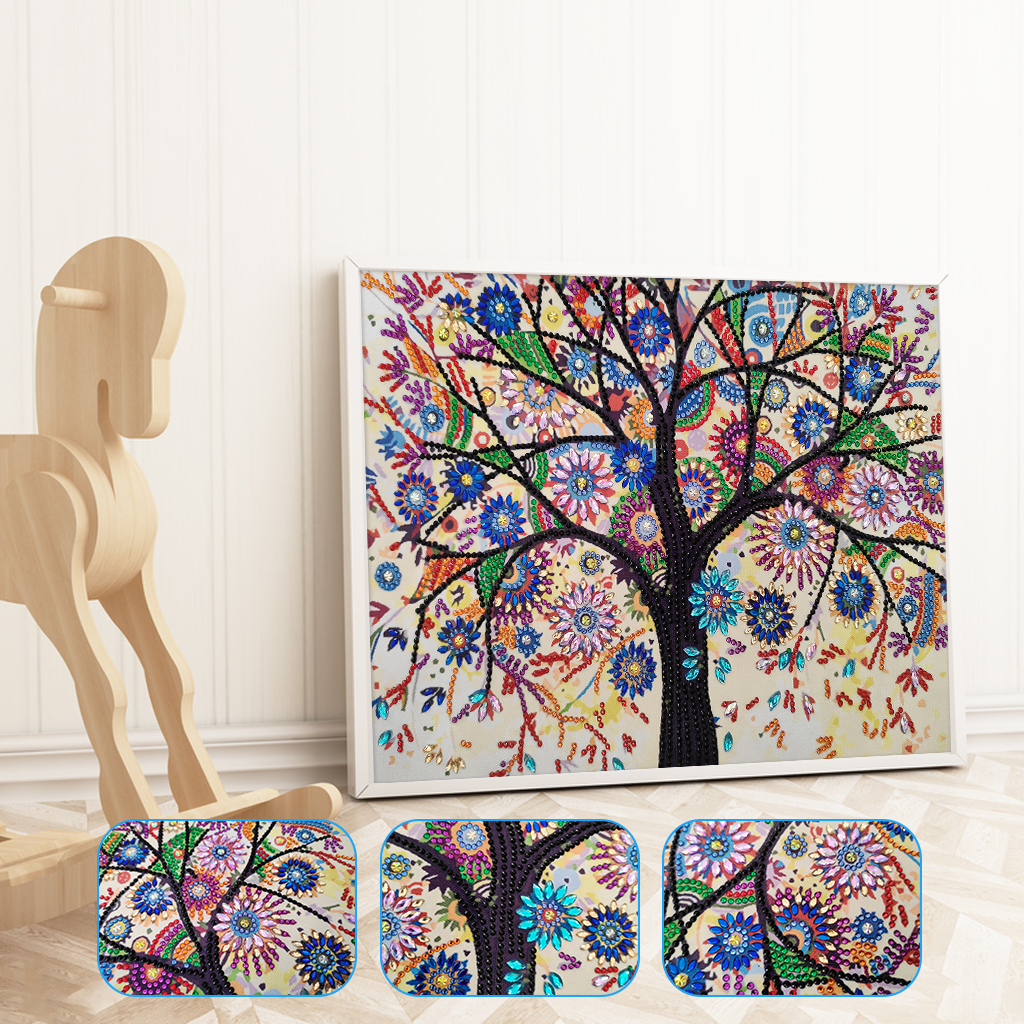 5D Special Shaped Diamond Painting Colorful Tree Pattern Partial Drilled Cross Stitch Kits DIY Diamond Embroidery Decor Home
