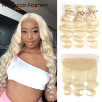 Rebecca 613 Blonde Bundles With Frontal Peruvian Body Wave 2/3 Bundles Remy Blonde Human Hair Lace Frontal Closure With Bundle