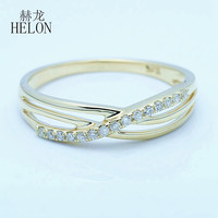 HELON Solid 14K Yellow Gold SI/H Round 100% Genuine Diamonds Ring For Women Engagement Wedding Eternity Band Exquisite Jewelry
