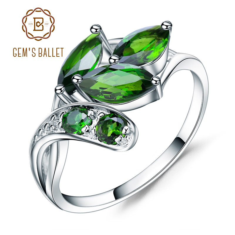 GEM'S BALLET 2.15Ct Ct Natural Chrome Diopside Gemstone Ring 925 Sterling Silver Leaf Shape Rings Fine Jewelry For Women