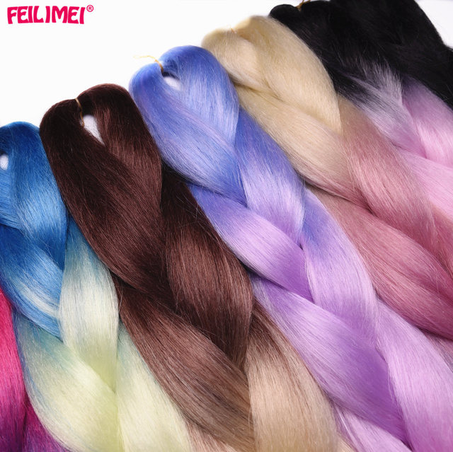 Feilimei Three/Two Tone Colored Crochet Braids Kanekalon Hair 24(60cm) 100g/pc Synthetic Ombre Jumbo Braiding Hair Extensions