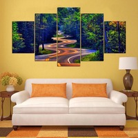 Modern HD Printed Wall Art Frame Canvas Pictures 5 Pieces Natural Beauty Highway Tree Living Room