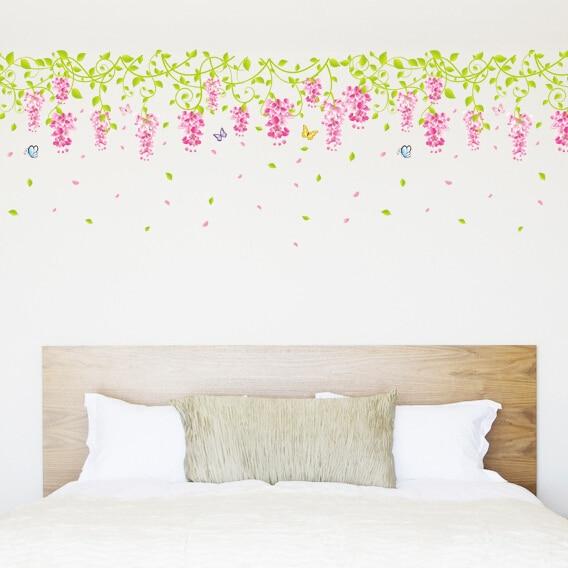 free shipping single design sale wisteria flower wall sticker vine