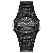 Iced Out zegarki damskie Hip Hop Bling diamentowe męskie zegarek biznesowy ze stali nierdzewnej Hot moda damska zegarek kobieta zegar człowiek