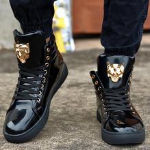Новинка высокого верха свободного покроя для мужчин искусственная кожа узелок красный белый черный цвет мужские свободного покроя мужской обуви высокого верха обуви розничная