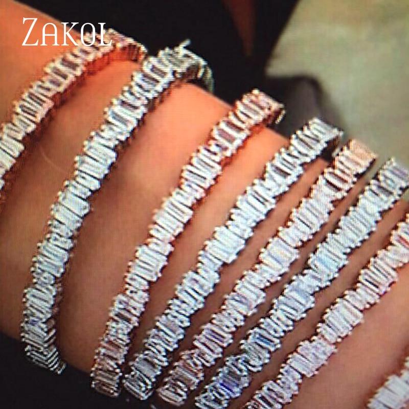 ZAKOL Fesyen AAA Cubic Zirconia Baguette Gelang Bangle sekerat Cuff Warna Tembaga Pangkalan Pengantin Perkahwinan Barang Kemas Untuk Wanita FSBP138
