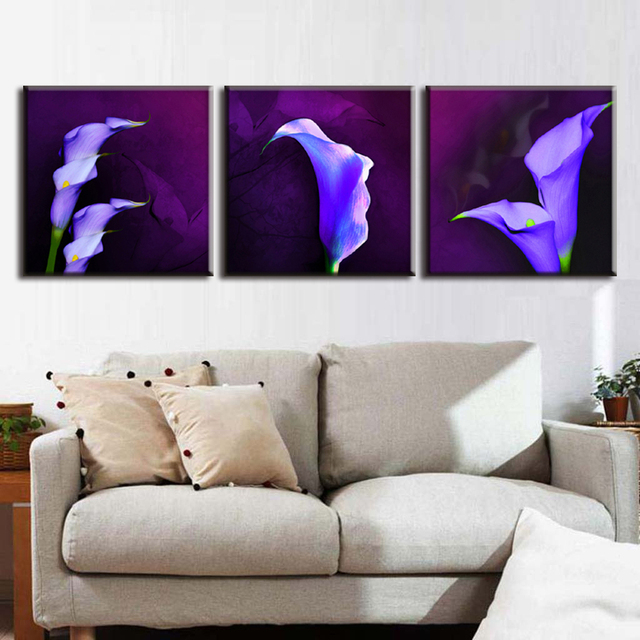 Home Decor Picture Painting On Canvas Purple Calla Lily In Plum Modern Pop Wall Art For