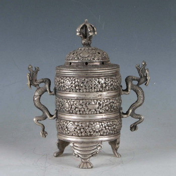 Chinese Exquisite Tibetan Silver Dragon Incense Burner