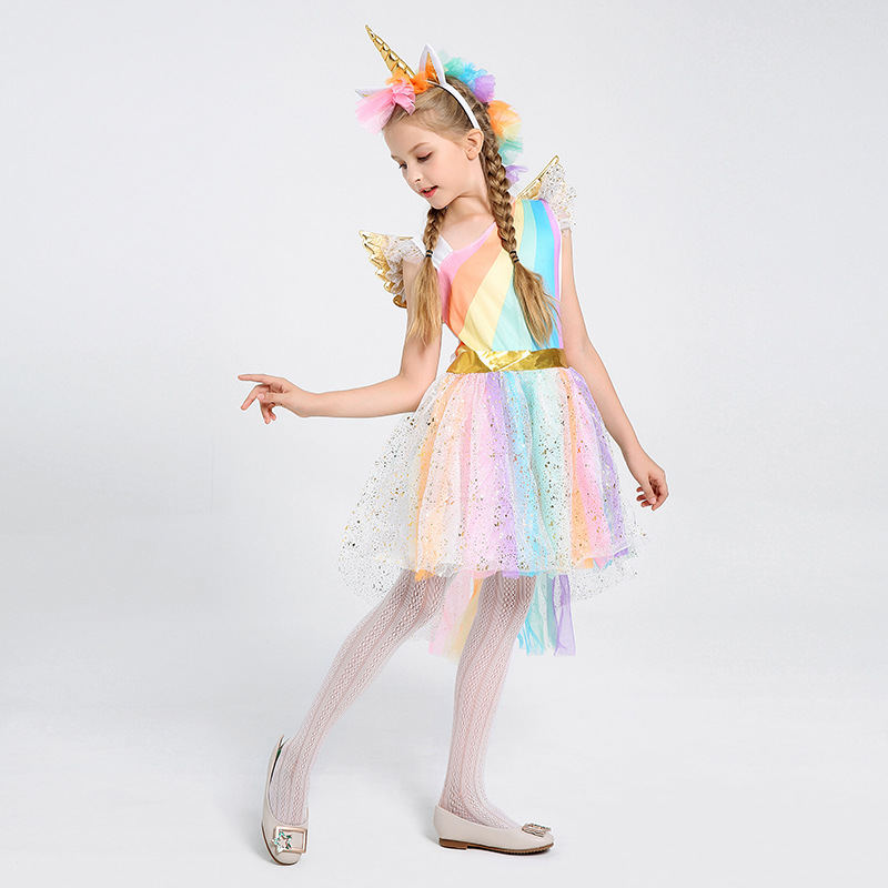 Children's costumes Halloween cosplay costume Unicorn dresses stage show Rainbow princess dress