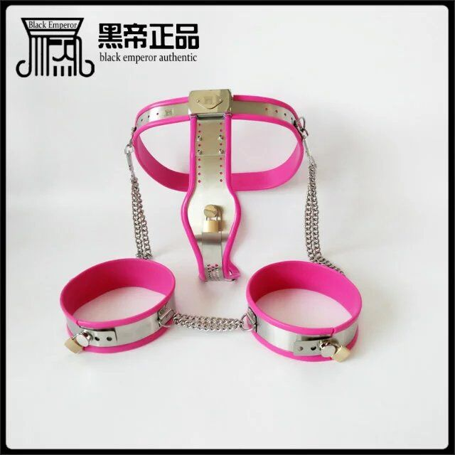 2pcs/set chastity belt female with Thigh ring stainless steel bdsm bondage restraints fetish sex games bondage set for women new fashion open leg leather bondage thigh ring belt expose breast hand arm restraints bags clothes bdsm fetish wear for woman