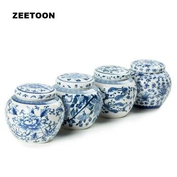 Mini contenedores de té Jingdezhen de porcelana azul y blanca, juego de...