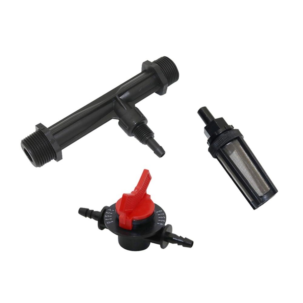 Irrigation Venturi Fertilizer Injector With 1/2, 3/4 Inch Male Thread, 4-speed Flow Control Valve, Water Filter Kit 1 Set