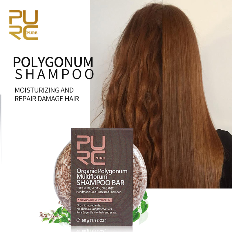 PURC органический шампунь Polygonum бар 100% чистый и Polygonum ручной работы холодной обработки волос Шампунь без химических веществ или консервантов