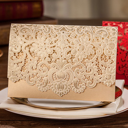 Horizontal laser cut wedding invitation with gold hollow flora favors customizable 100 pcs lot cw072.jpg 250x250