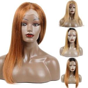 Image 5 - פרואני בלונד שיער טבעי פאות ישר 1B 30 בצבע Ombre תחרה מול שיער טבעי פאות לנשים שחורות דבש בלונד פאה Nonremy