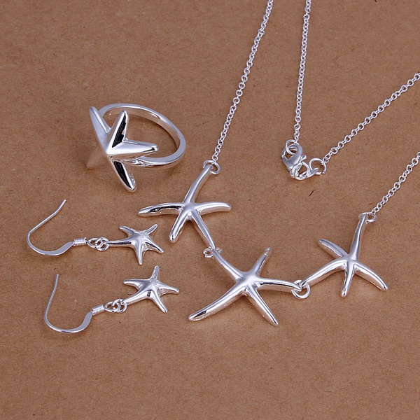 Silver plated refined luxury fashion gorgeous noble elegant starfish three piece hot selling classic wedding jewelry S175