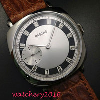 44mm Parnis White Dial 316L Stainless Steel Case Silver Hands 17 Jewels 6497 Movement Mechanical Hand