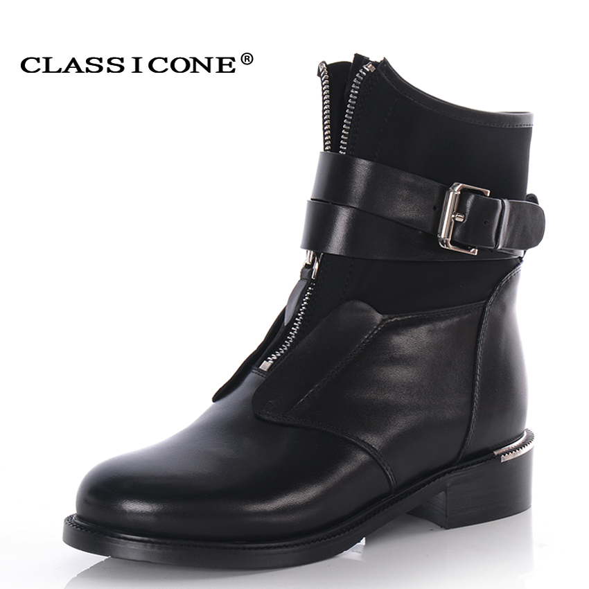 CLASSICONE 2017 woman winter shoes ankle boots black genuine leather warm wool women'n fur snow boots brand fashion style flats ms noki fur new fashion style black ankle boots flats pointed toe back slip on boots pu flock woman shoes with warm fur outside
