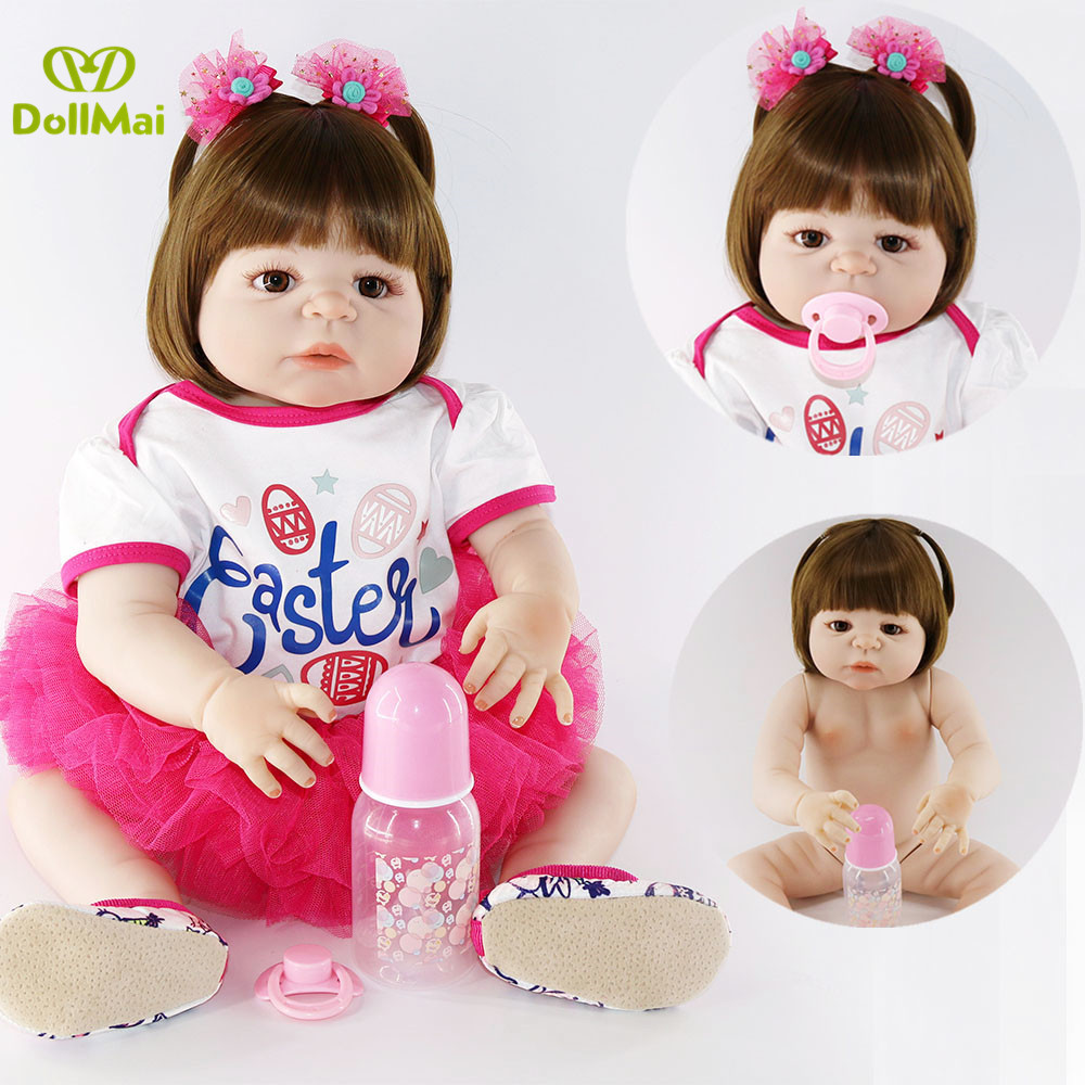 55cm Full Silicone Body Reborn Baby Girl Doll Toys 22inch real baby newborn Toddler Doll bebe gift reborn menina bonecas55cm Full Silicone Body Reborn Baby Girl Doll Toys 22inch real baby newborn Toddler Doll bebe gift reborn menina bonecas