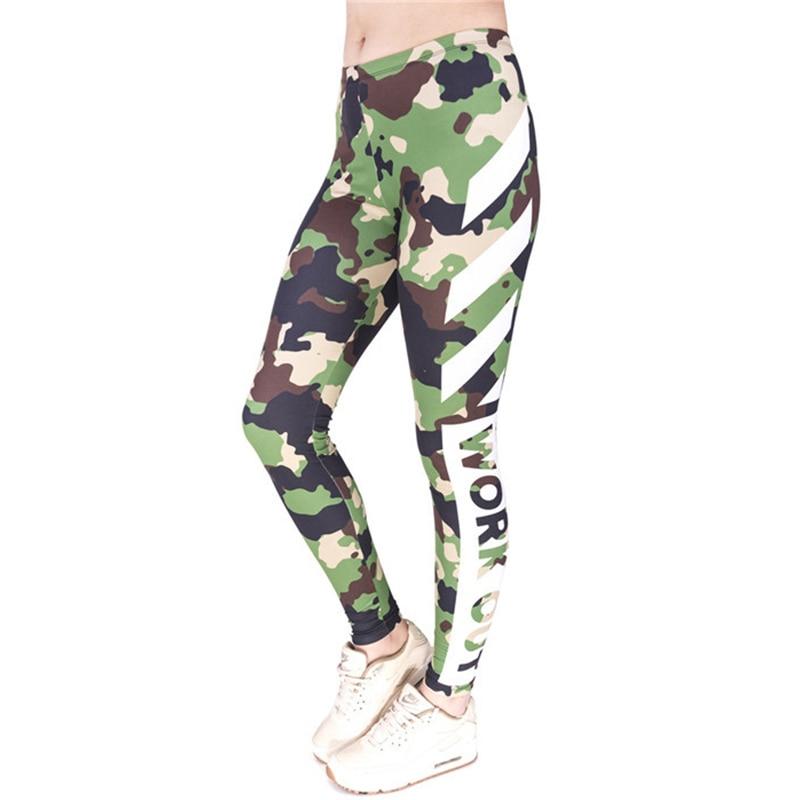 Women funny Leggin Green Camo and Stripe Printed High Waist Bottoms Slim Leggings Girl Basic Pants