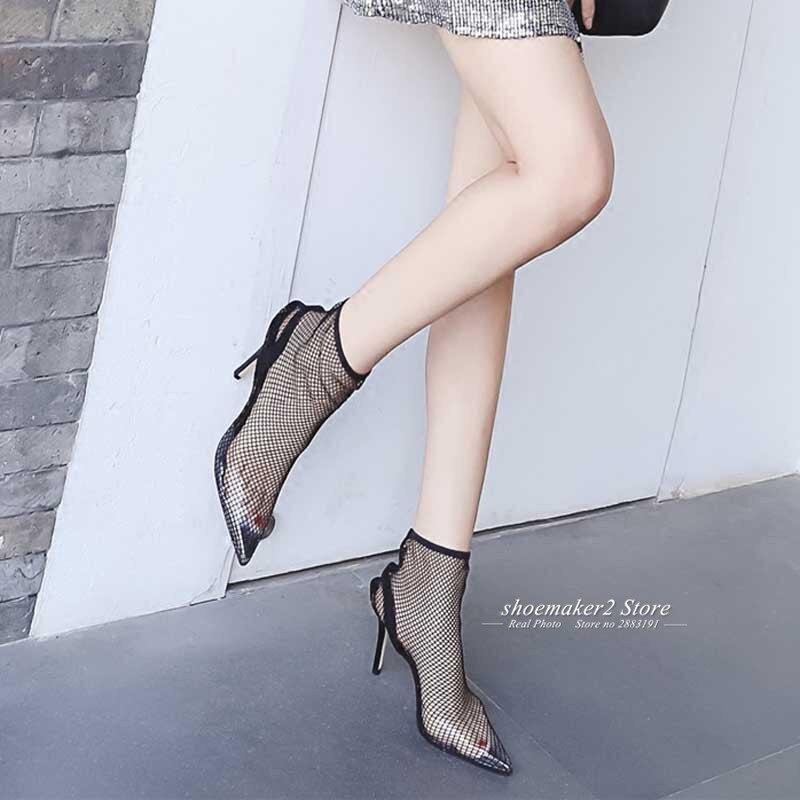 cab535df6340 Pvc Talons Transparent D été Sexy Femmes Noir Chaussures Chaussette Femme  Gladiateur Bout Pointu 2018 Hauts Sandales Bottes ...