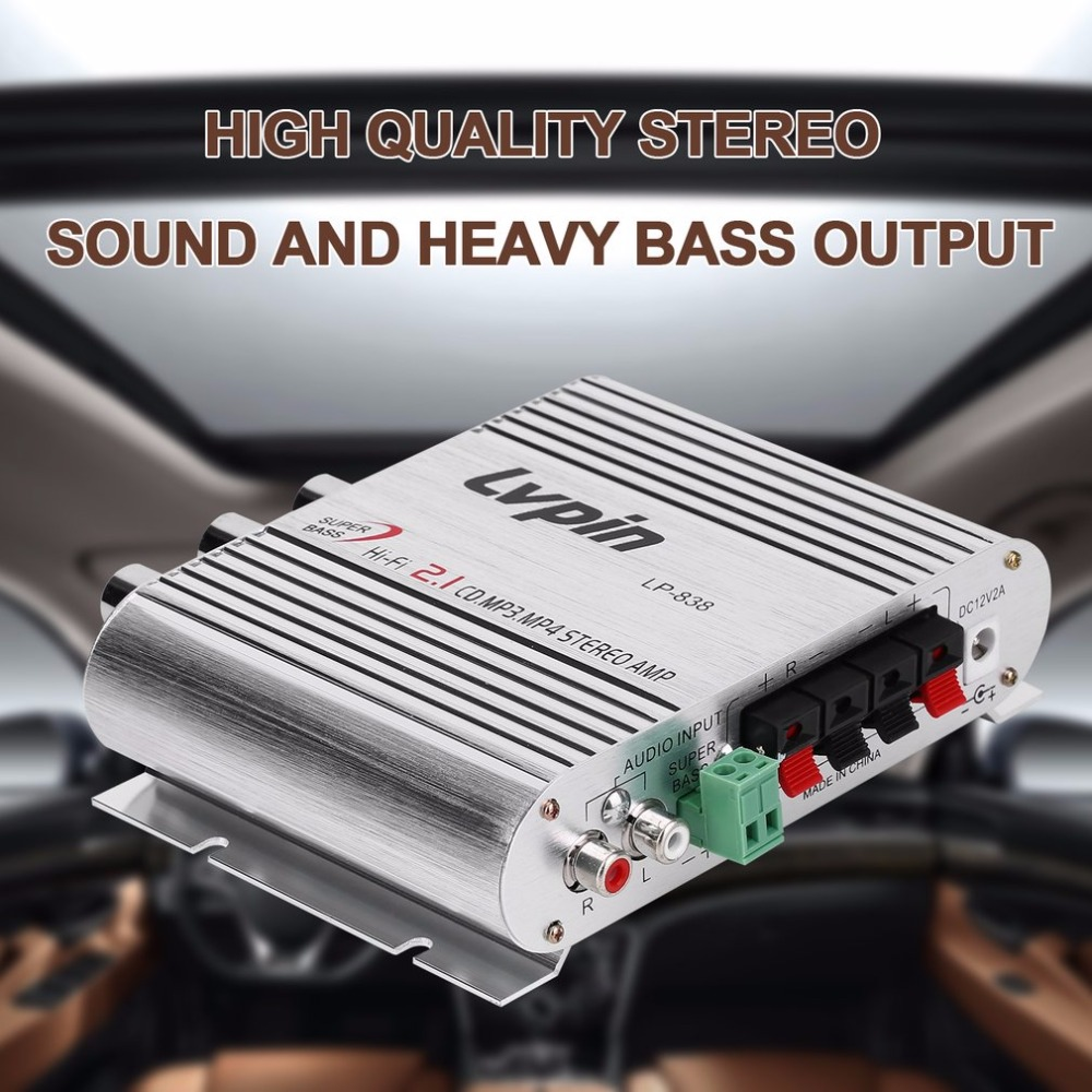 Mini HiFi Sliver 12V <font><b>20W</b></font> CD MP3 Radio Car Auto Motor Boat Home <font><b>Audio</b></font> Stereo Bass Speaker <font><b>AMPLIFIER</b></font> BOOSTRER Verstarker Vehicle image