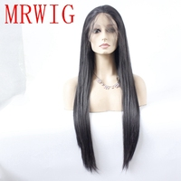 MRWIG real hair synthetic straight long real hair 26in 150% 300g baby hair free part glueless front lace wig with combs&straps