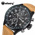 INFANTRY Mens Watches Top Brand Luxury Waterproof Chronograph Business Watch Leather Sport Quartz Wrist Watch Male Clock