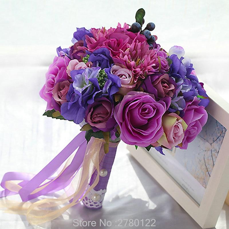 Artificial Bruidsboeket Wedding Bouquet For Brides Ribbon Flower Girl Bouquet 2020