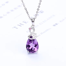 цена gemstone jewelry wholesale trendy 925 sterling silver natural purple crystal amethyst charm necklace pendant for female онлайн в 2017 году