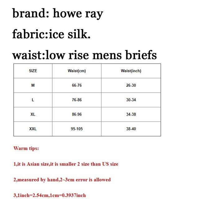 Howe Ray marka lodowy jedwab bielizna męska majtki wybrzuszenie duża kieszonka na penis męskie majtki wzmocnienie Sexy bezszwowe męskie majtki niski wzrost 2018