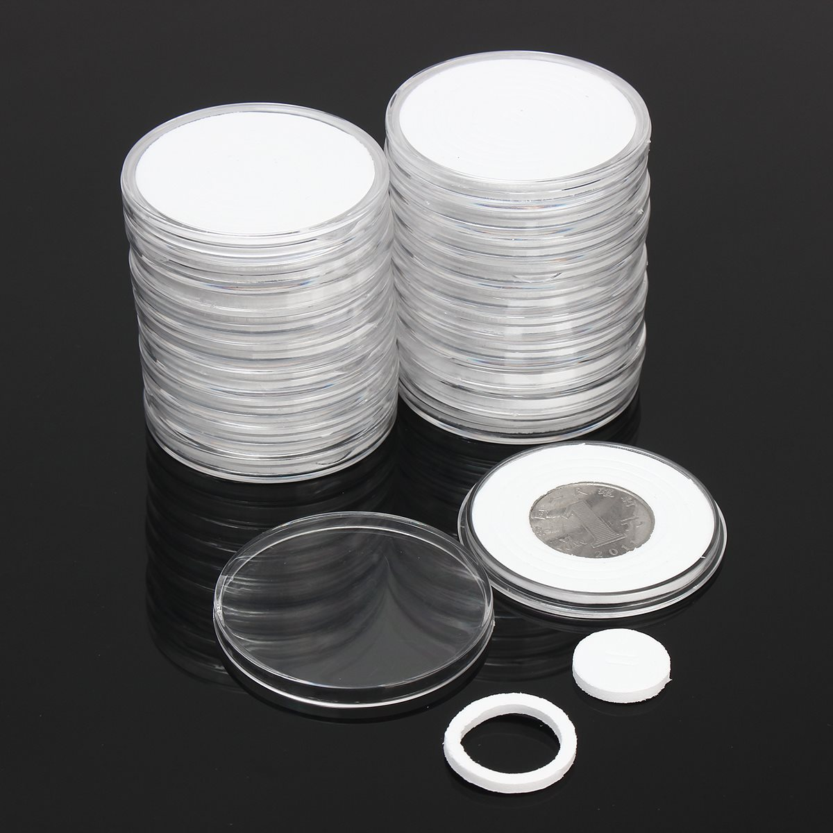 Capsules-Holder Container-Box Collection Coin-Storage Display Clear Plastic Round Cases