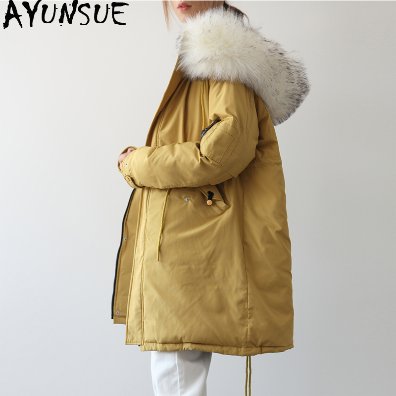D'hiver Le Vêtements Femme Femelle Coréenne Mujer Manteaux 2018 Chaqueta Parka À My1556 Vers Ayunsue Veste Capuche Longue Yellow Femmes Col De Bas Fourrure Manteau 7qz6CA5wx
