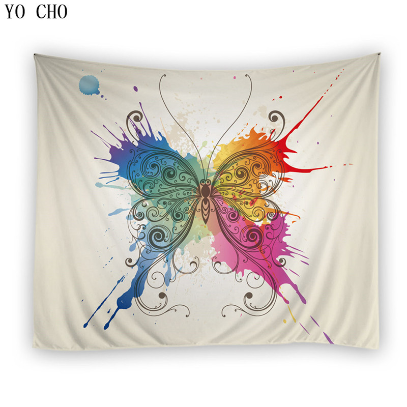 YO CHO colorful butterfly tapestry elegant wall hanging polyester green environmental fabric decoration