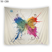 YO CHO colorful butterfly tapestry elegant butterfly wall hanging tapestry polyester green environmental fabric wall decoration butterfly water print waterproof wall tapestry