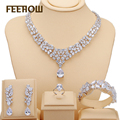 FEEROW Classic Silver Plated Jewelry Set Water Drop Shape Cubic Zirconia Jewelry For Women Ensembles De Bijoux FWSP236