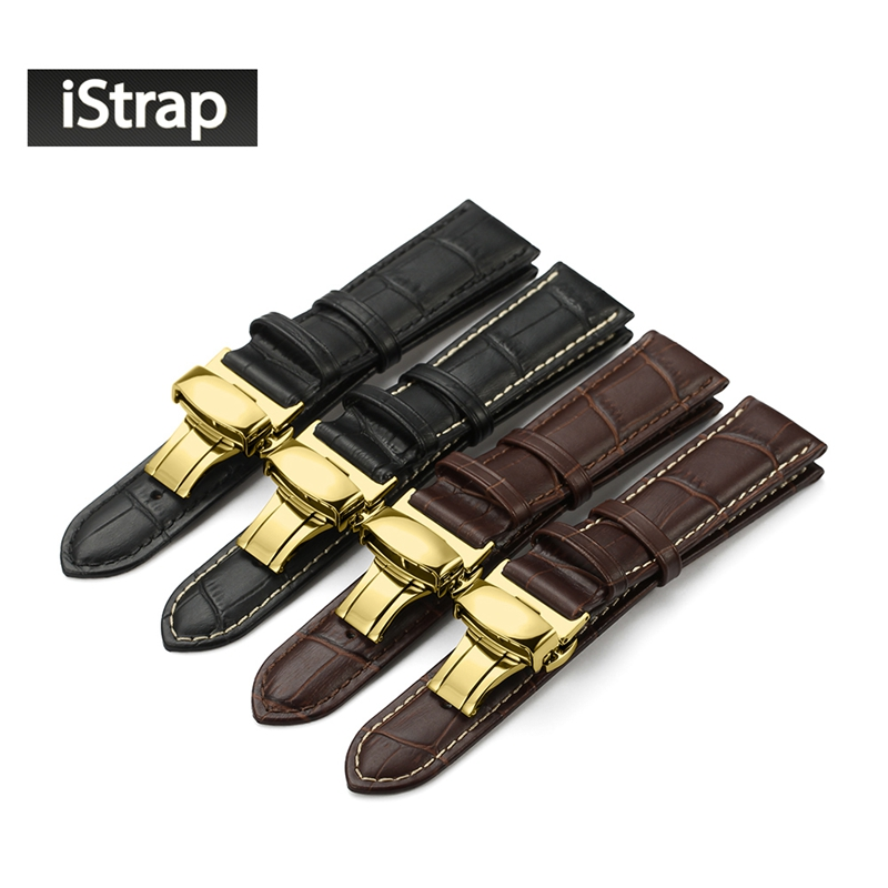 iStrap Genuine Leather Strap Alligator Grain Watch Band Strap Black Brown Watchband  for Hamilton for Breitling for Seiko Tissot набор для творчества disney феи 15 предметов