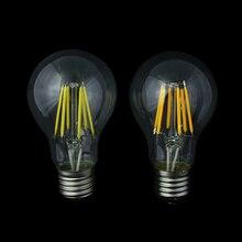 10 шт. E27 COB LED лампа накаливания 2 Вт 4 Вт 6 Вт 8 Вт A60 Эдисон Ретро bulbble Стекло корпус лампы 110 В/120 В 220 В/230 В/240 В 85-265 В