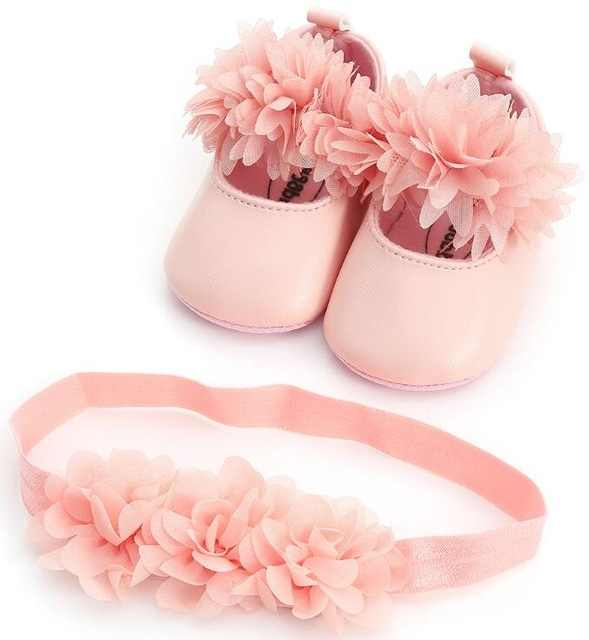 5e7189ac0e07 New summer flower style Infant baby girls shoes + headband first walker princess  set dress soft
