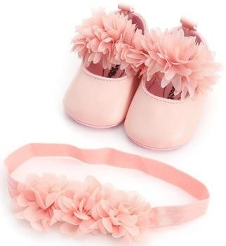 12532e3ff Новый летний цветок стиль детские для маленьких девочек туфли + повязка на  голову первых шагов комплект принцессы платье мягкой подошвой Об..