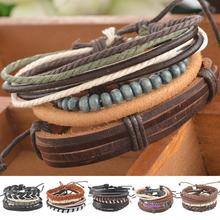 Плетеные манжеты популярные компл. кожаный регулируемый браслет повседневная изделия ювелирные мужская