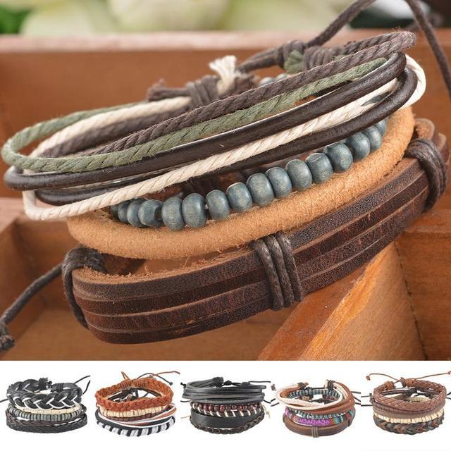 1Set 4pcs Braided Adjustable Leather popular Bracelet  Cuff  Women  Men`s Casual Jewelry