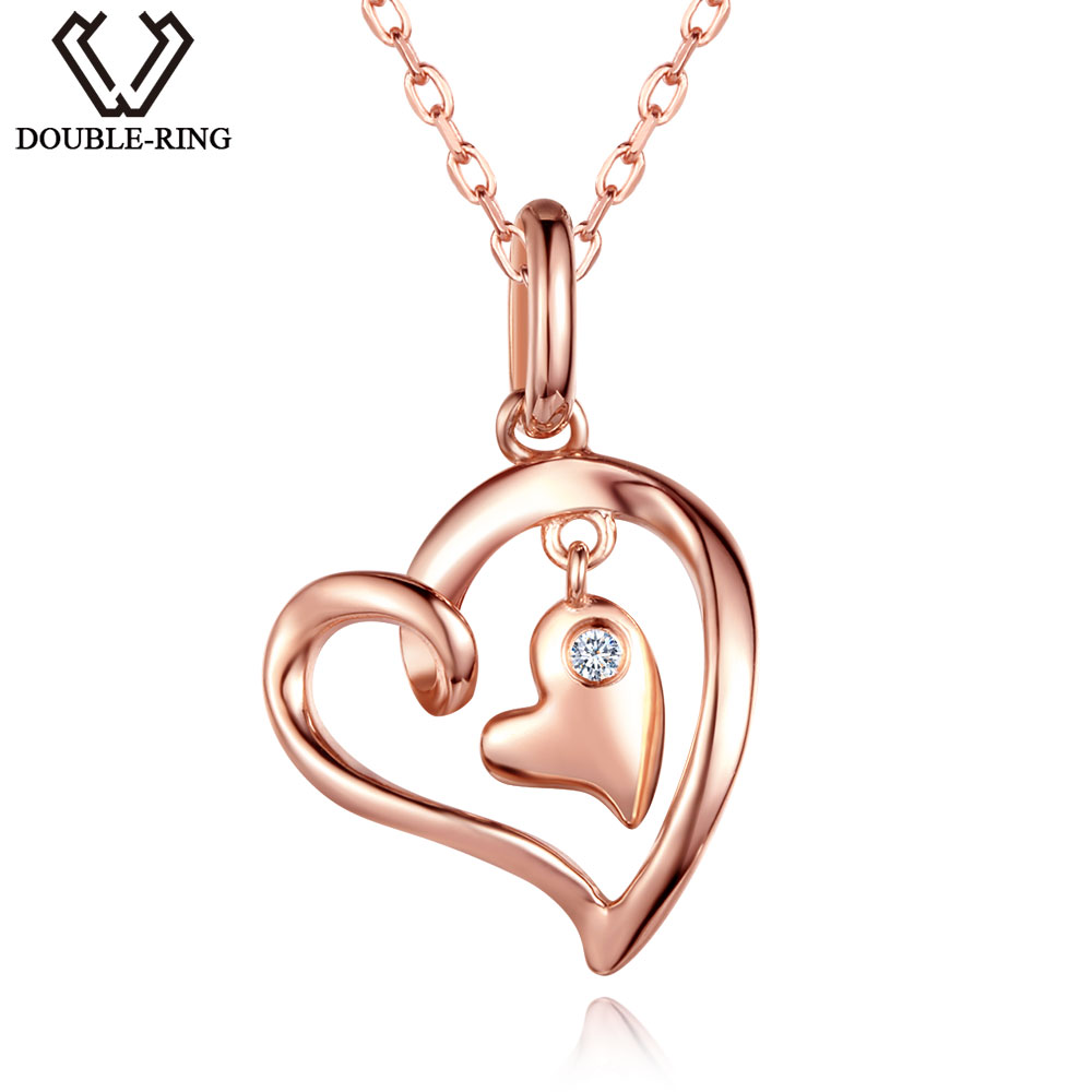 DOUBLE-R 0.02ct Women Real Diamond Pendants 925 Silver Necklaces Rose Gold Heart Diamond-Jewelry Valentine's Gift With Chain double r women necklace pendants 0 03ct diamond 925 sterling silver pendants with long chains diamond jewelry cap03755sa 1