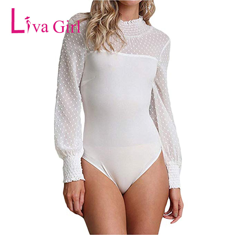 LIVA GIRL Elegant Long Sleeve <font><b>Bodysuit</b></font> Women 2019 Blouse and Top Turtleneck Jumpsuit Red/<font><b>Black</b></font> Romper Streetwear <font><b>Lace</b></font> Body Tops image
