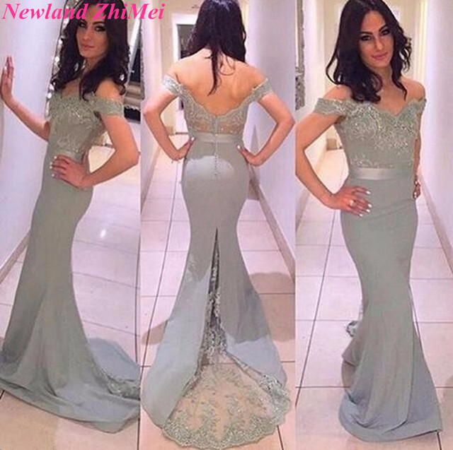 Silver Gray Long Fitted Sheath Formal Evening Party Gowns Sexy Off ...
