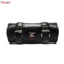 Triclick Universal Roll Saddlebag PU Leather Saddlebags Motorcycle Side Bag Black New Saddle Storage Luggage Tools Kit Bags