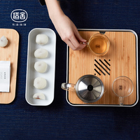 ZEN'S BAMBOO Tea Tray with Snack Organizer Box Tea Tools Storage Case Drinkware