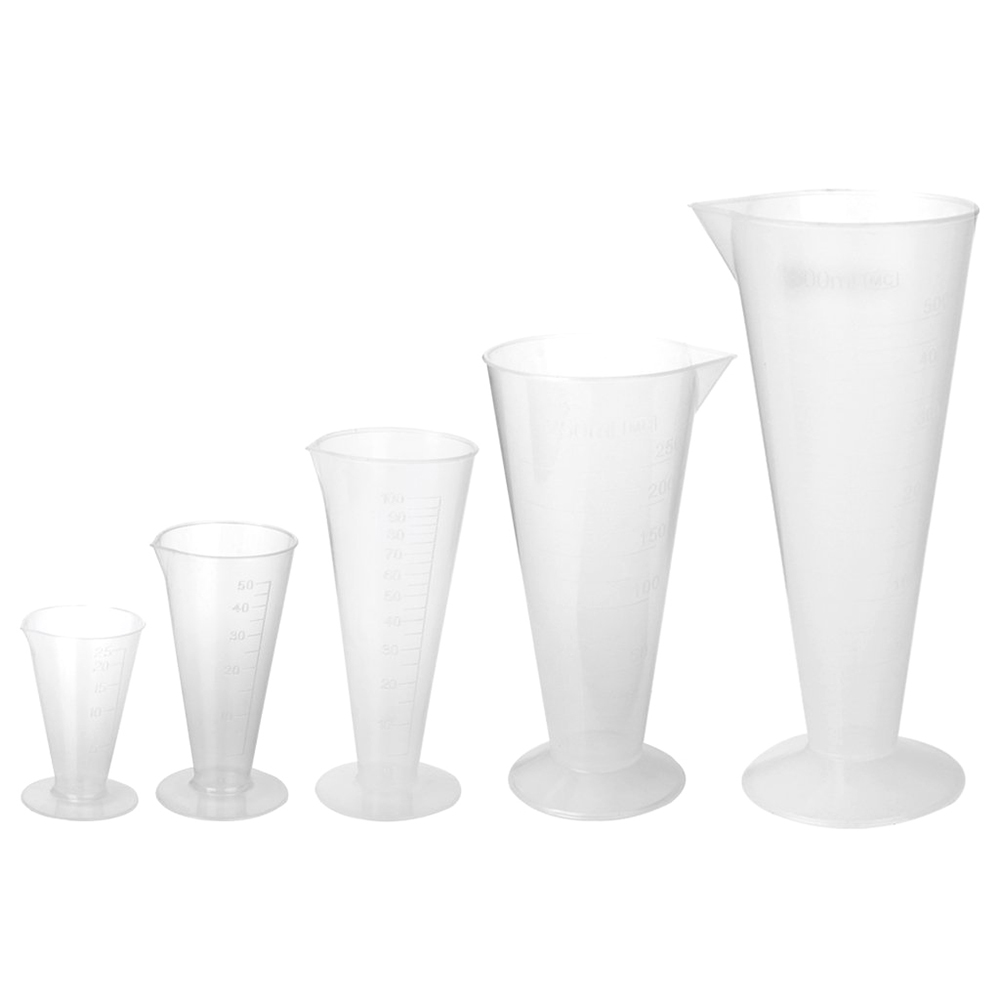 New 5 x Plastic Laboratory Conical Graduated Measuring Cups 25ml+50ml+100ml+250ml+500ml