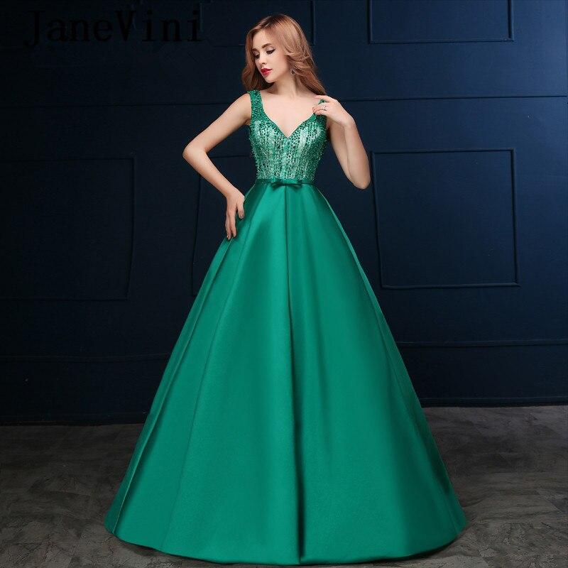 JaneVini Vestidos Зеленый Мать невесты платья Sexy Глубокий V шеи бисером спинки плюс Размеры линия атласные вечерние платья для женщин