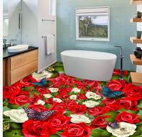 Modern sticker 3D floor Red and white roses butterflies Mural 3d PVC Wallpaper Self adhesive Floor Wallpaper 3d